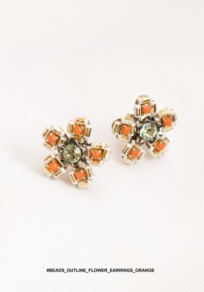 Beads Outline Flower Earrings Orange