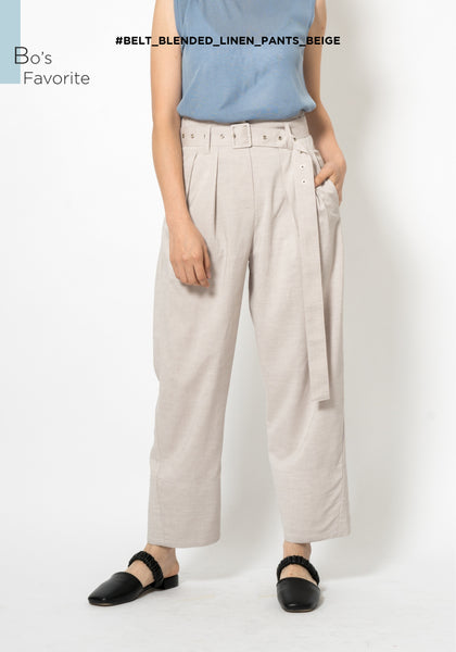 Belt Blended Linen Pants Beige