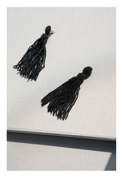 Black Beads Tassel Earrings