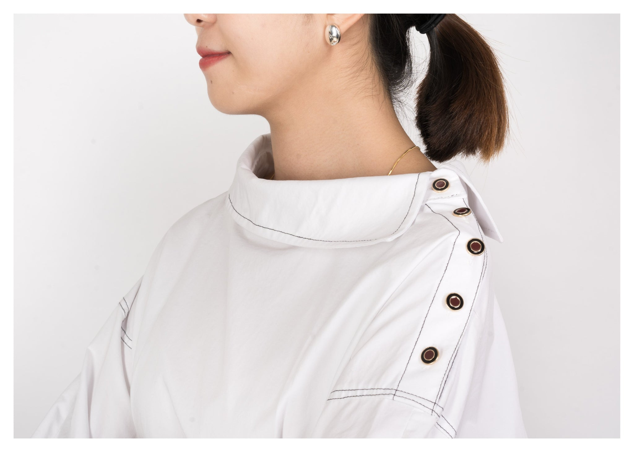 Boat Neckline Shoulder Button Blouse - whoami