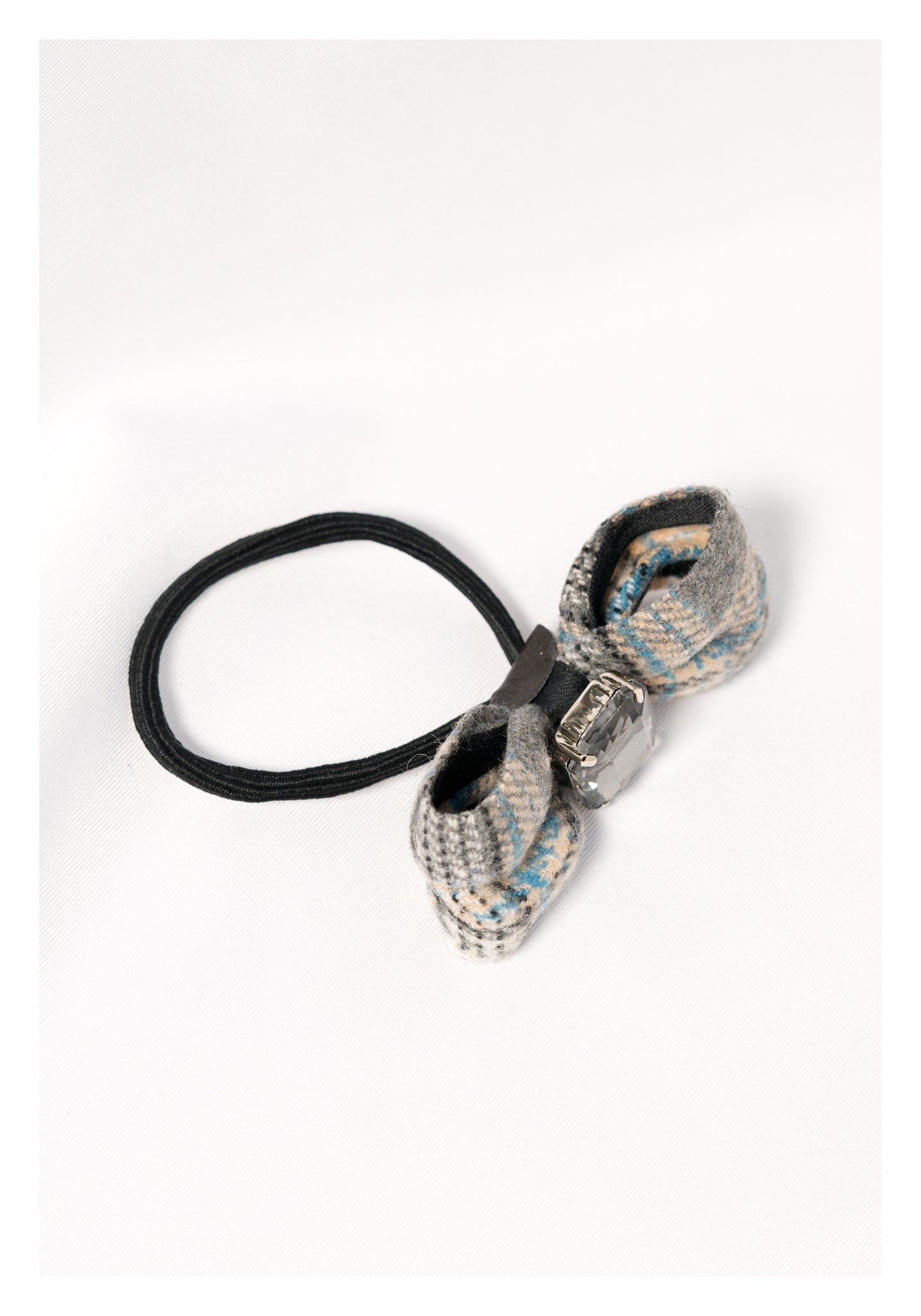 Bold Gem And Checker Ribbon Hairband Grey - whoami