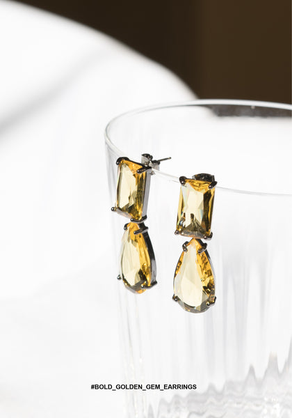 Bold Golden Gem Earrings - whoami