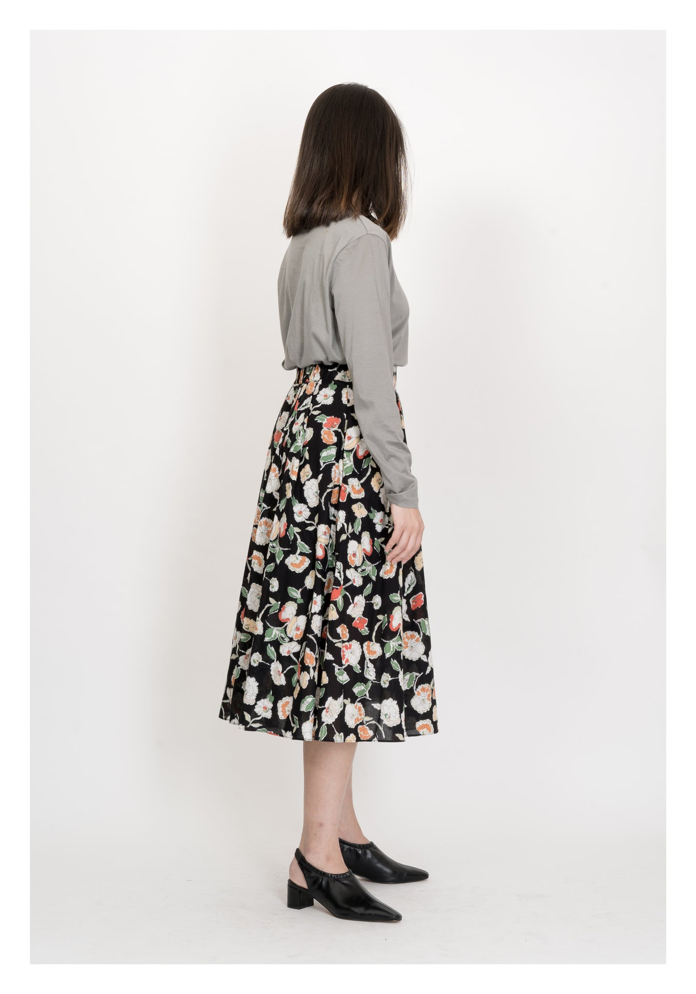 Sketch Colourful Flower Skirt Black - whoami