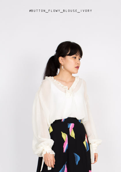 Button Flowy Blouse Ivory - whoami