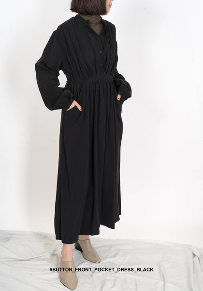 Button Front Pocket Dress Black