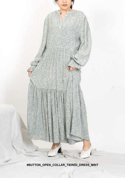 Button Open Collar Tiered Dress Mint - whoami