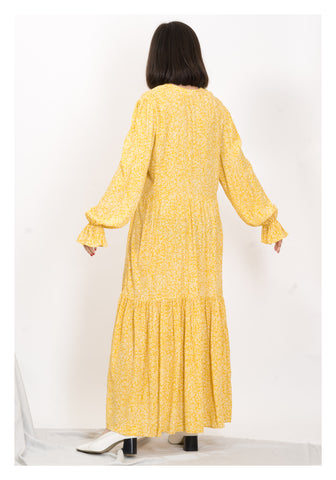 Button Open Collar Tiered Dress Yellow