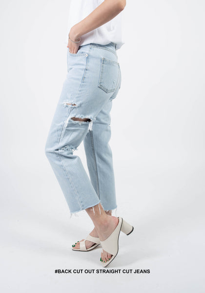 Back Cut Out Straight Cut Jeans
