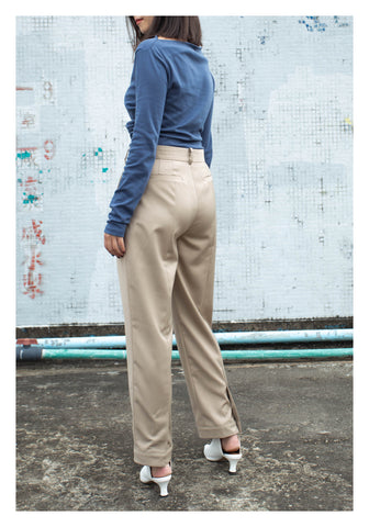 Back Slit Button Taper Pants Beige - whoami