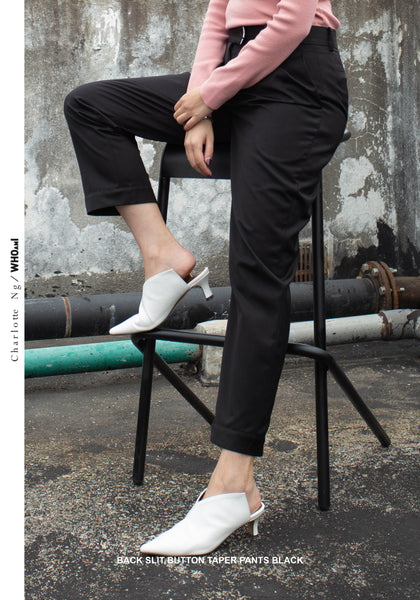 Back Slit Button Taper Pants Black - whoami