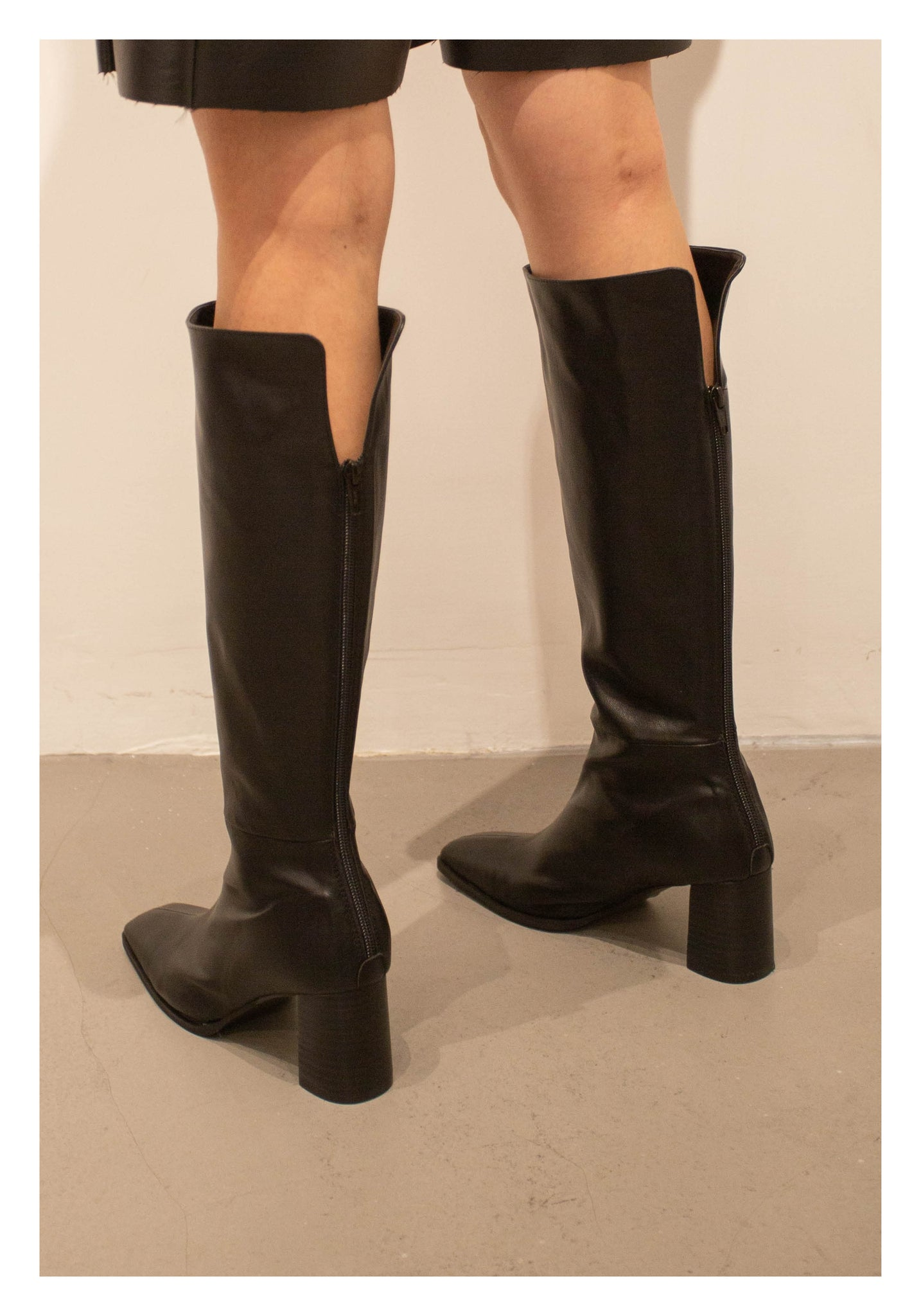 Back Slit Long Boots Black - whoami