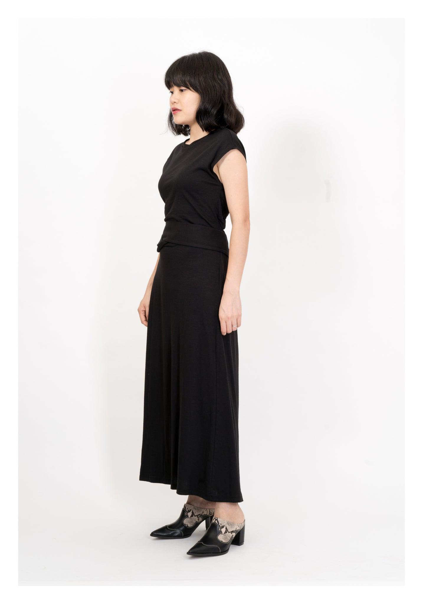 Back Elastic Tie Cotton Dress Black