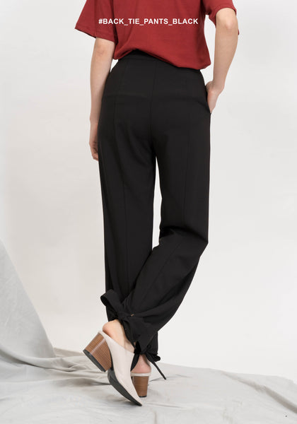 Back Tie Pants Black - whoami