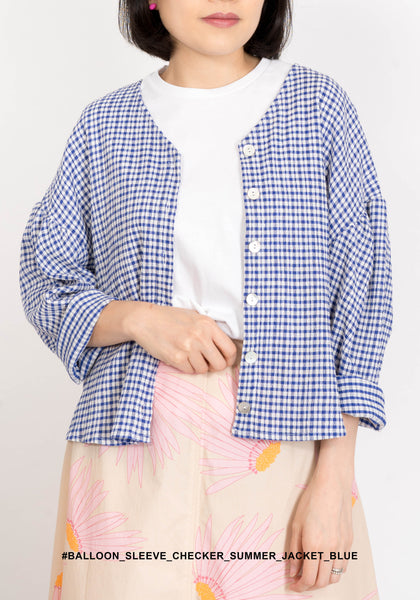 Balloon Sleeve Checker Summer Jacket Blue - whoami