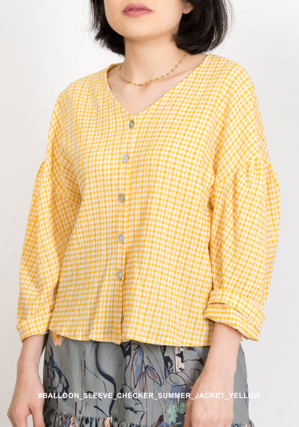Balloon Sleeve Checker Summer Jacket Yellow - whoami