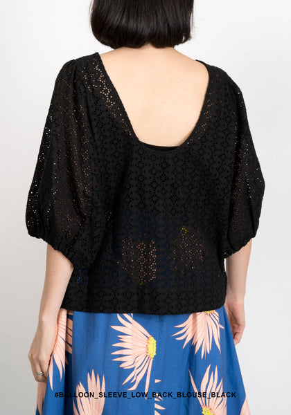 Balloon Sleeve Low Back Blouse Black - whoami