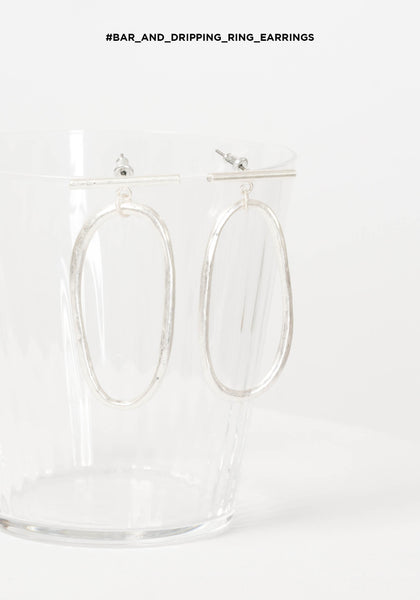 Bar and Dripping Ring Earrings