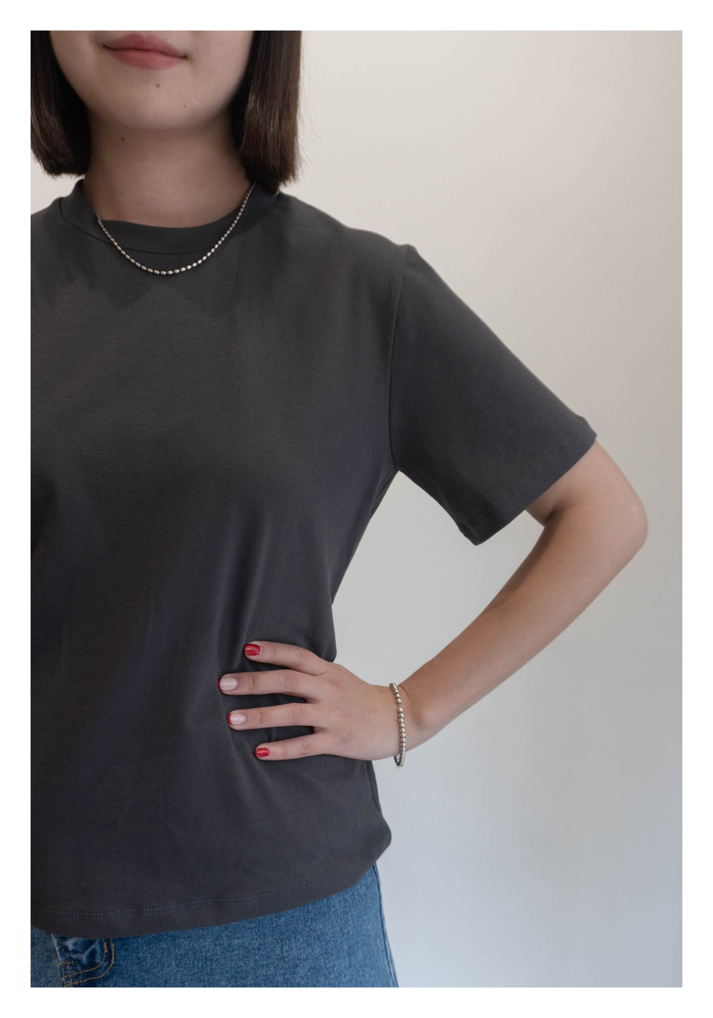 Basic Crew Neck Tee Charcoal - whoami