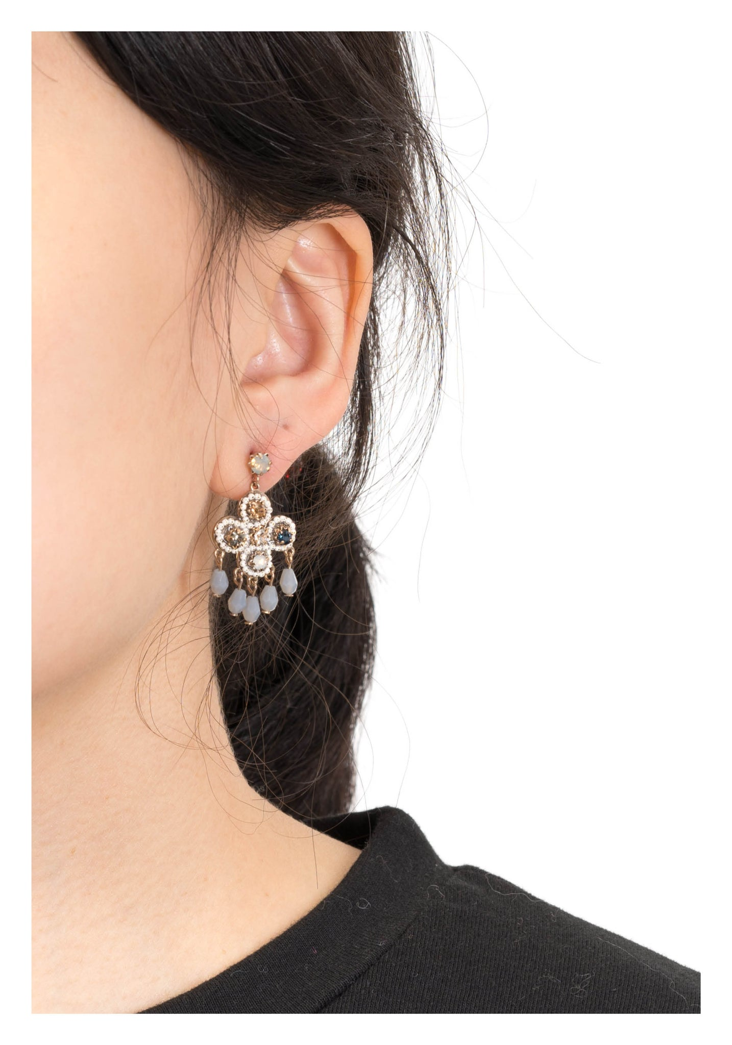 Mixed Gem Cross Tassel Earrings - whoami
