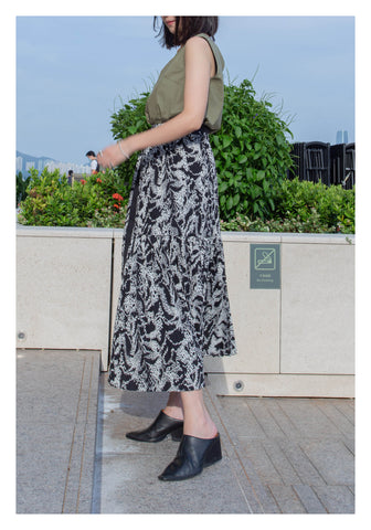 Belted Pattern Piano Pleats Skirt Black - whoami