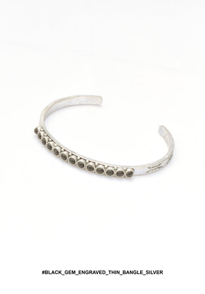 Black Gem Engraved Thin Bangle Silver - whoami