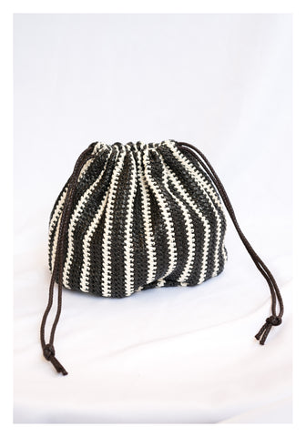 Black and White Straw Knitted Hand Bag