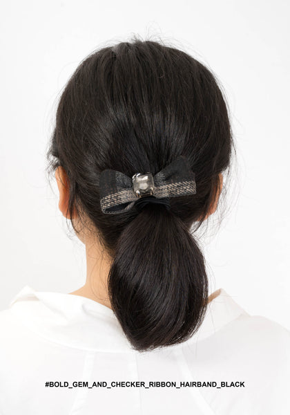 Bold Gem And Checker Ribbon Hairband Black