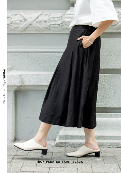 Box Pleated Skirt Black
