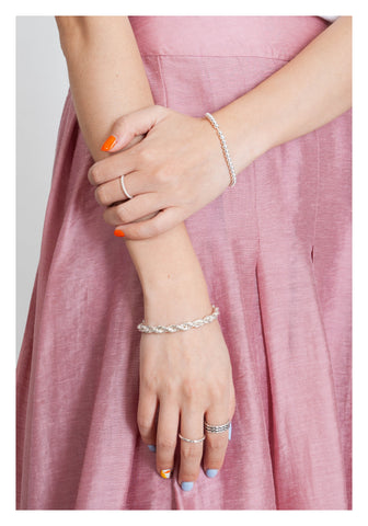 925 Silver Modern Twisted Chain Bracelet - whoami