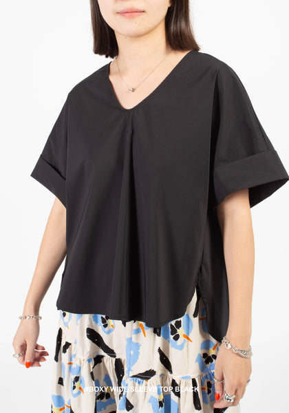 Boxy Wide Sleeve Top Black