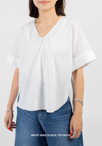 Boxy Wide Sleeve Top White