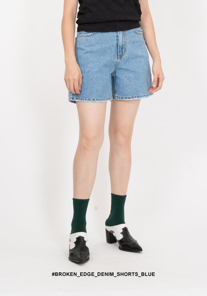Broken Edge Denim Shorts Blue - whoami