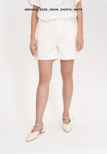 Broken Edge Denim Shorts White