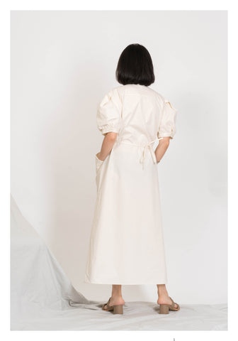 Button Pocket Tie Dress Beige - whoami