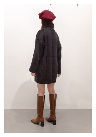 Cable Knit Dress Black - whoami