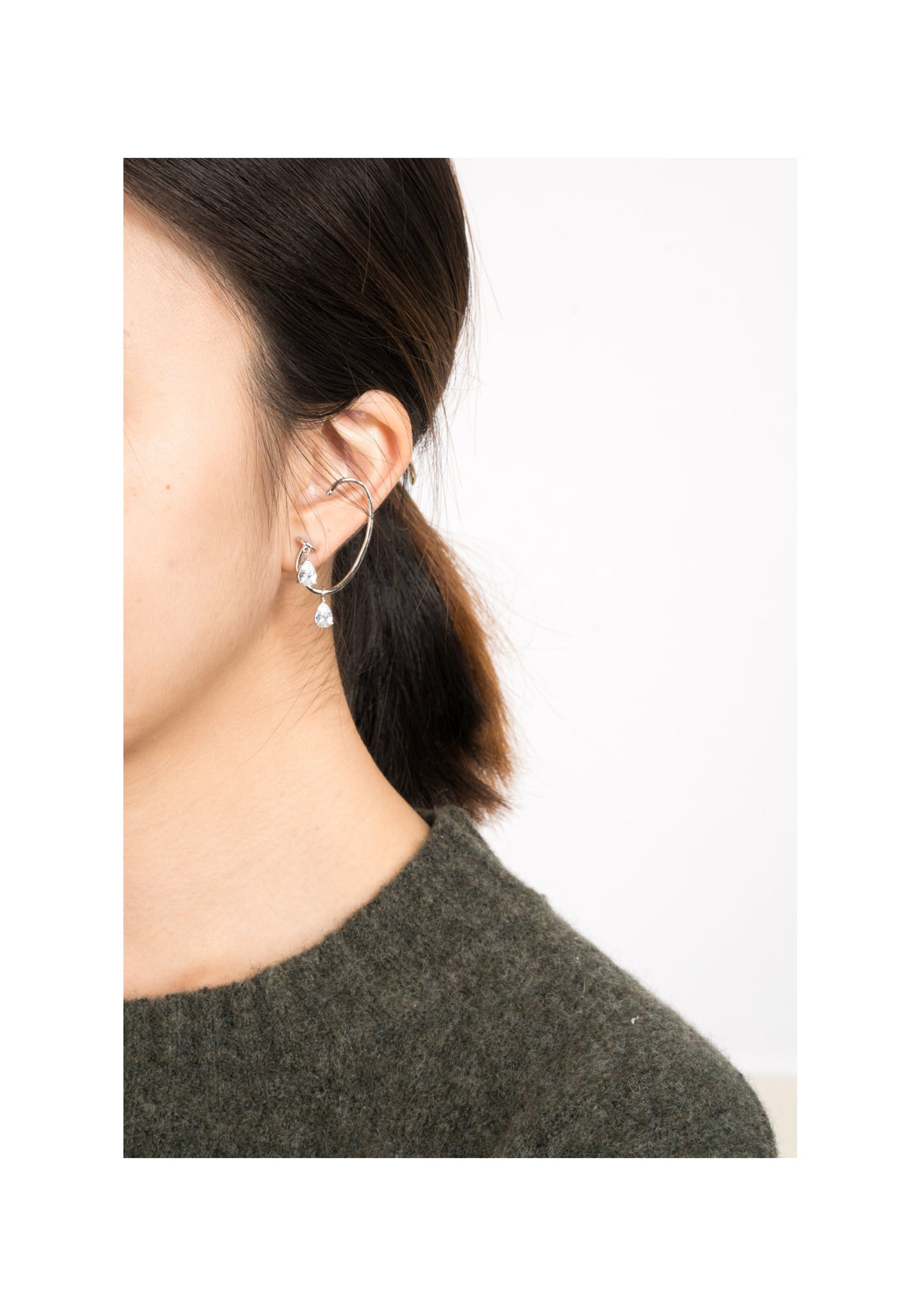 Ear Shape Drop Gem Earrings Silver