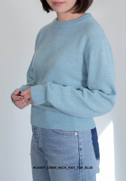 Candy Crew Neck Knit Top Blue - whoami