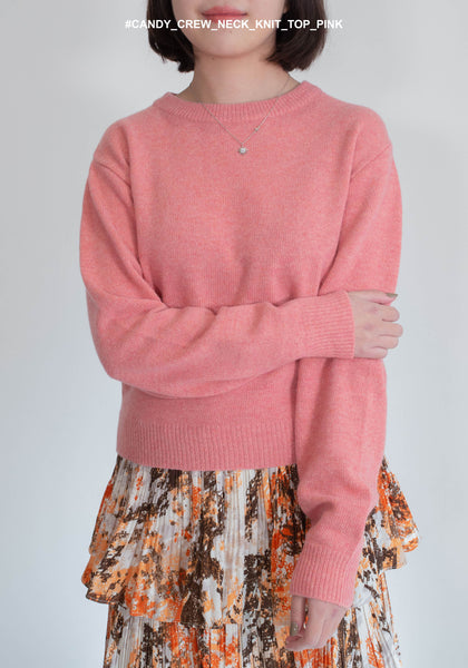 Candy Crew Neck Knit Top Pink - whoami