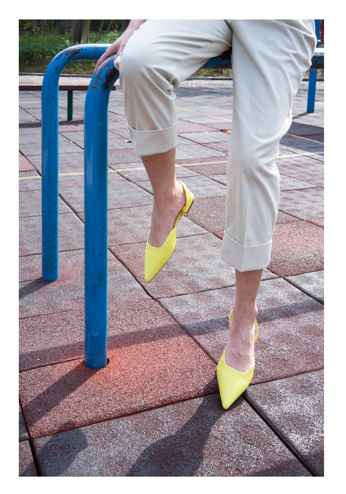 Candy Leather Sling Flats Lemon - whoami