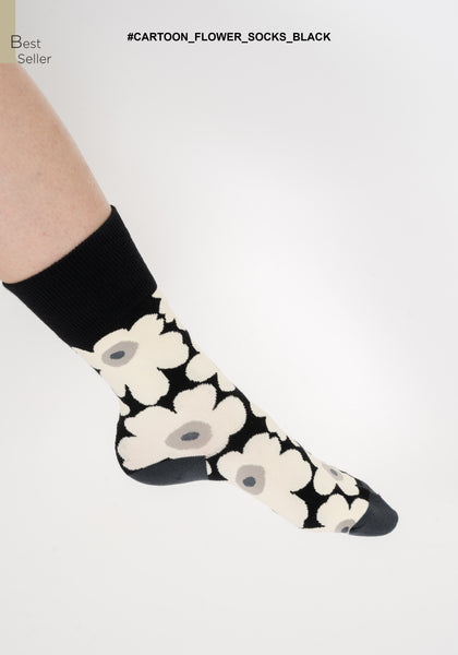 Cartoon Flower Socks Black - whoami