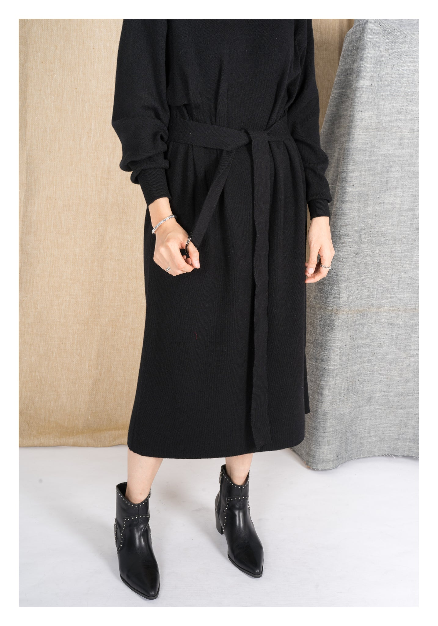 Cashmere Tie Knit Dress Black