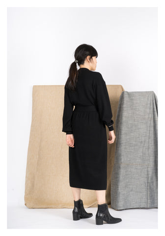 Cashmere Tie Knit Dress Black - whoami