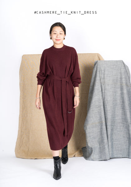 Cashmere Tie Knit Dress Burgundy