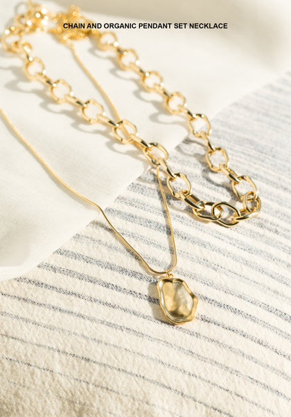 Chain And Organic Pendant Set Necklace - whoami