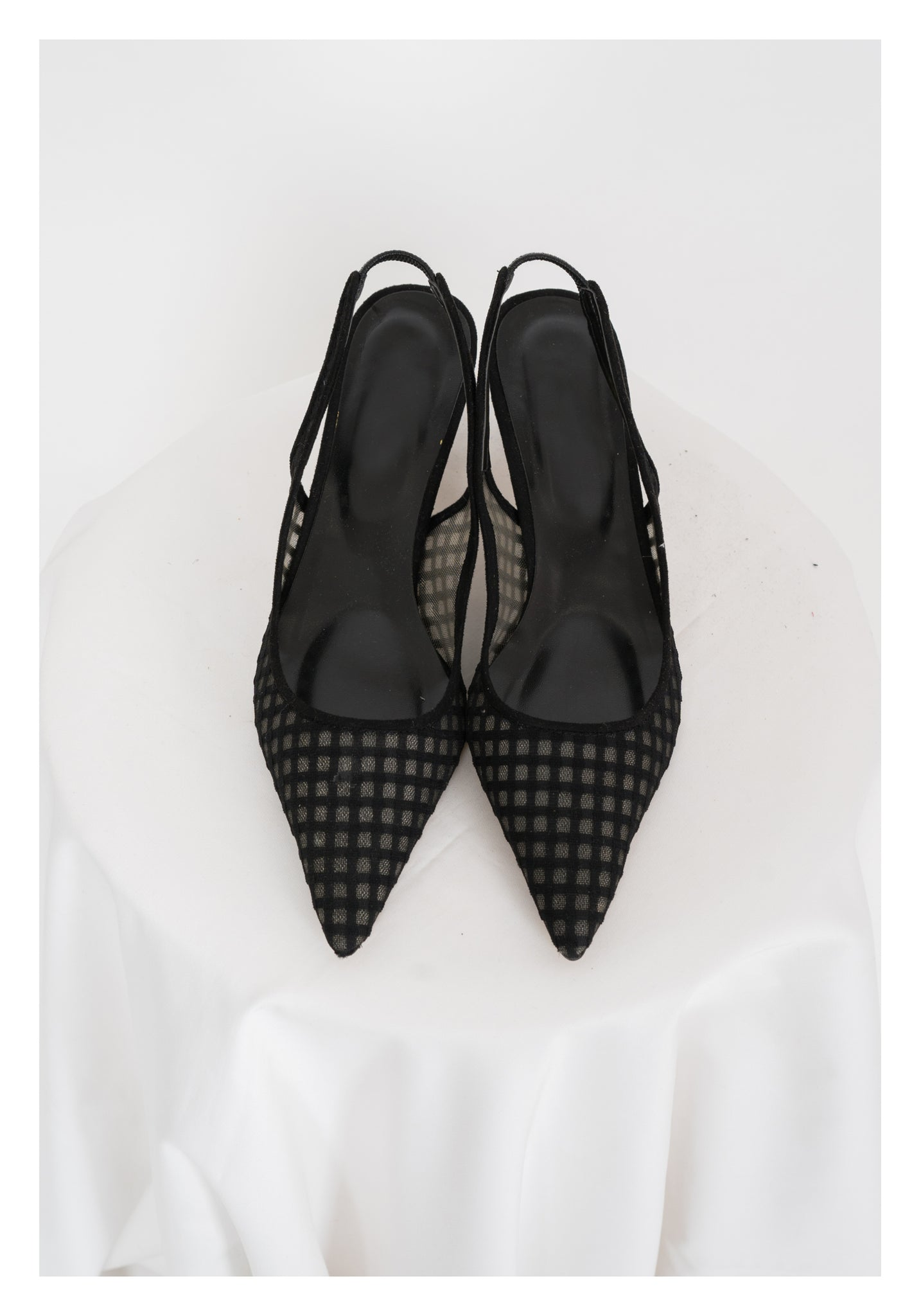 Checker Mesh Pointed Kitten Heels - whoami