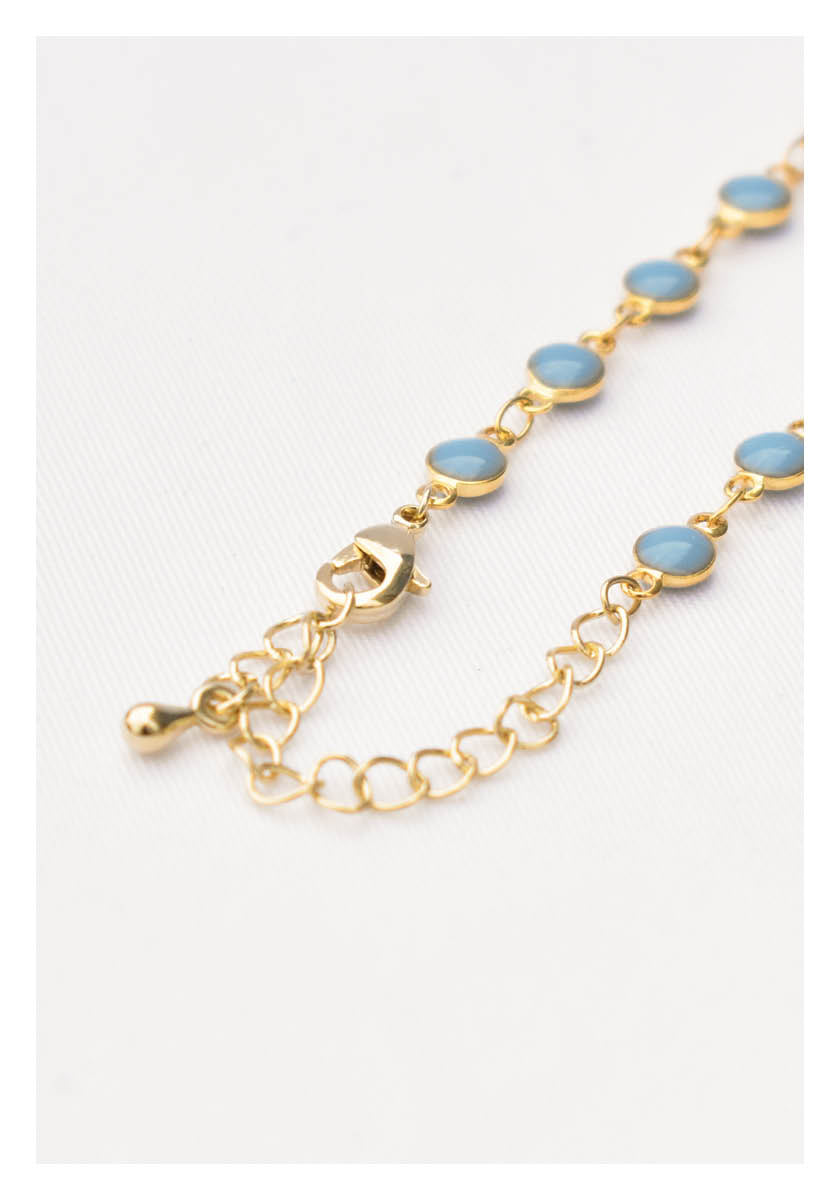 Circular Beads Chain Necklace Blue - whoami
