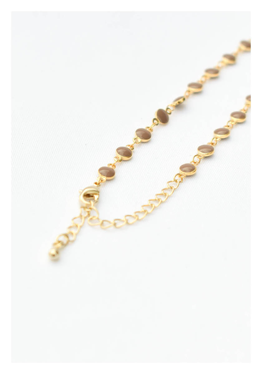 Circular Beads Chain Necklace Khaki - whoami