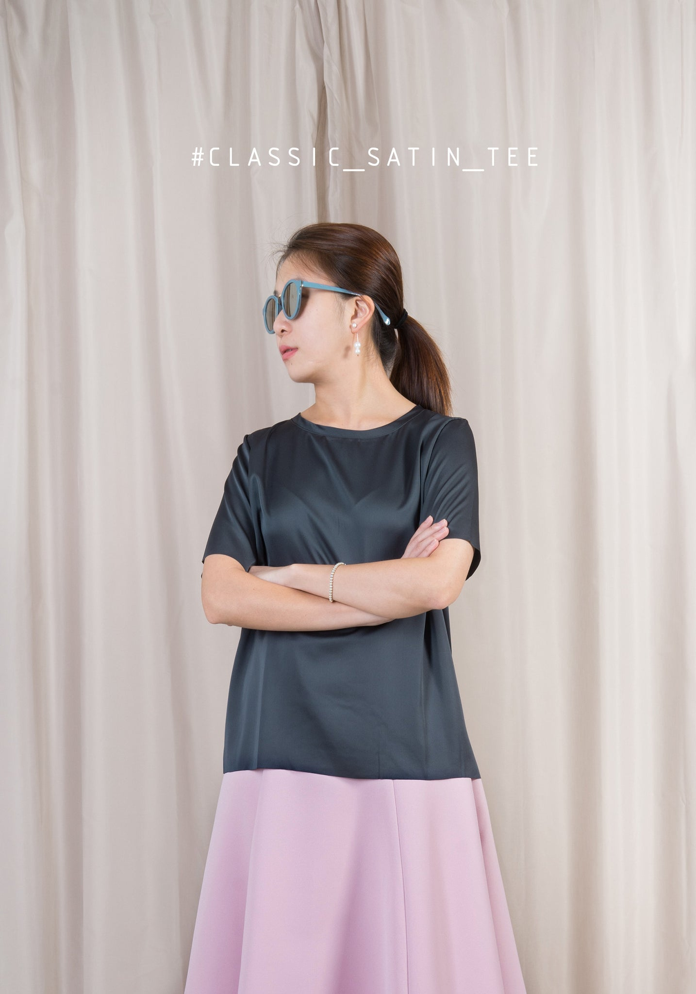 Classic Satin Tee Dark Green