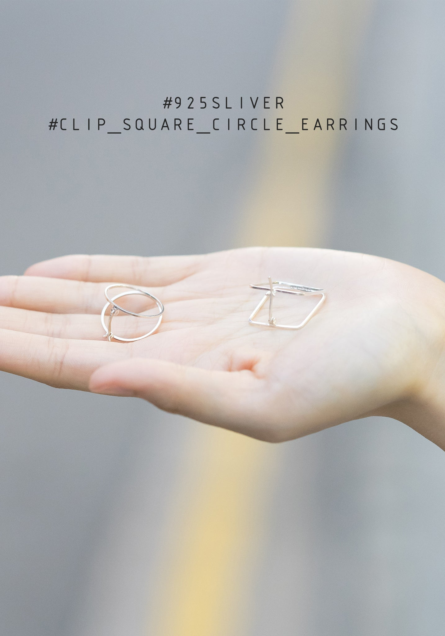 Clip Square Circle Silver Earrings