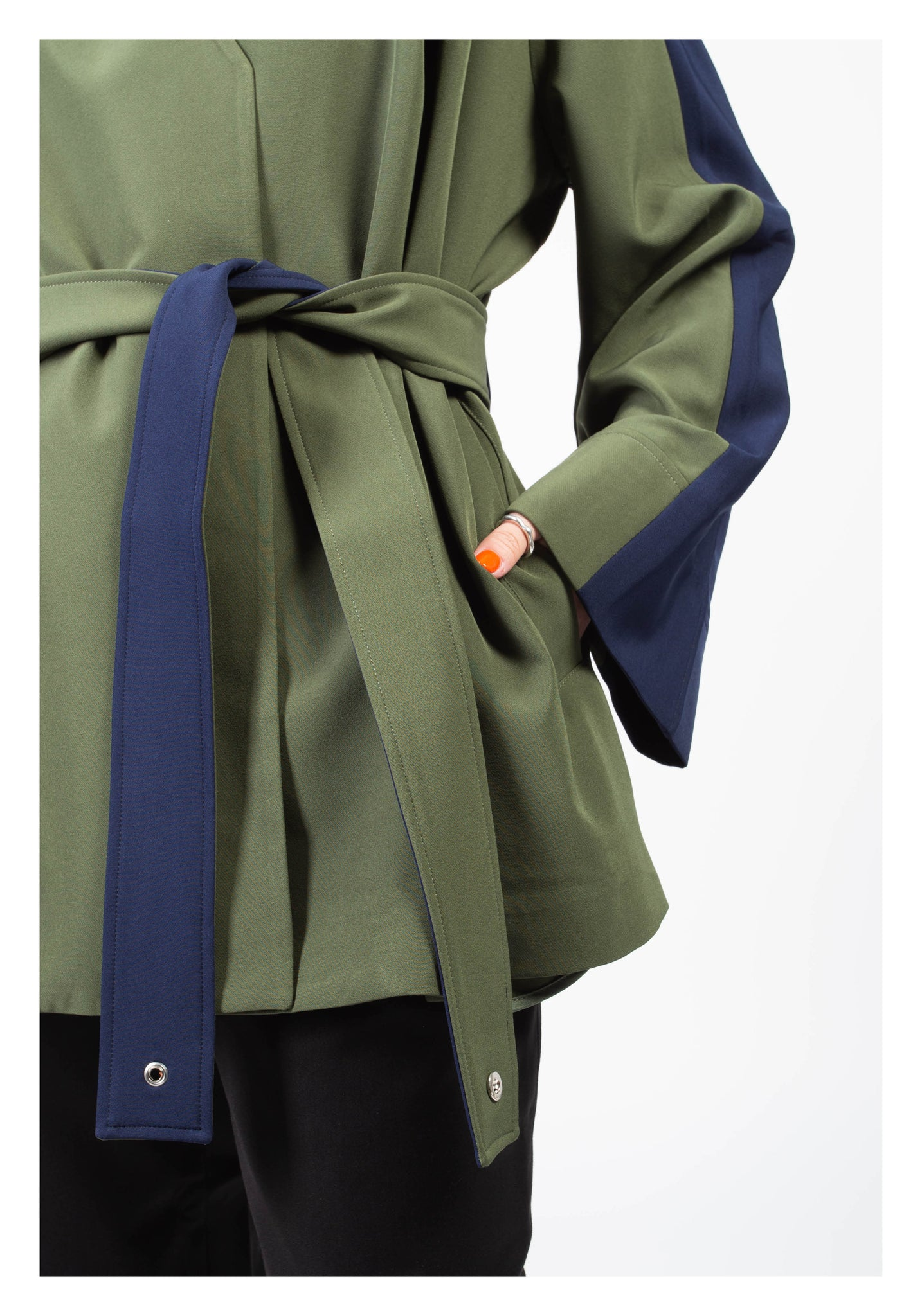 Lady Boss Paneled Wrap Jacket Navy